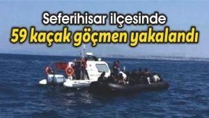 Seferihisar'da 59 kaçak göçmen yakalandı