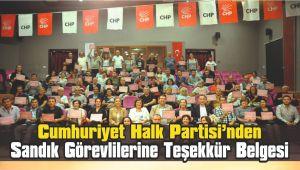 CHP'den Sandık Görevlilerine Teşekkür Belgesi