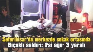Seferihisar'da merkezde sokak ortasında bıçaklı saldırı: 1'si ağır 3 yaralı