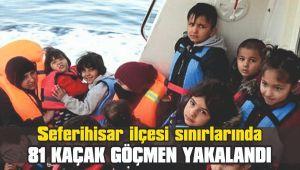 Seferihisar'da 38'i çocuk 81 kaçak göçmen yakalandı