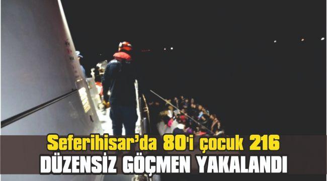 80'i çocuk 216 düzensiz göçmen yakalandı