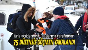 Urla açıklarında 75 düzensiz göçmen yakalandı