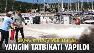 Teos Marina'da yangın tatbikatı yapıldı