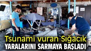 Tsunami vuran Sığacığın yaraları sarılmaya başladı