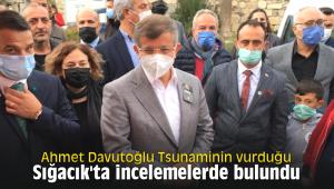 Ahmet Davutoğlu Tsunaminin vurduğu Sığacık'ta incelemelerde bulundu