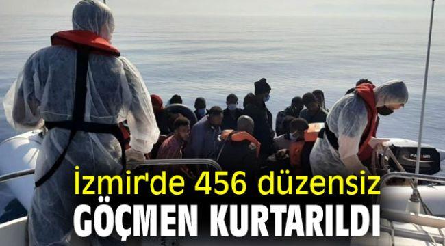 İzmir'de 456 düzensiz göçmen kurtarıldı